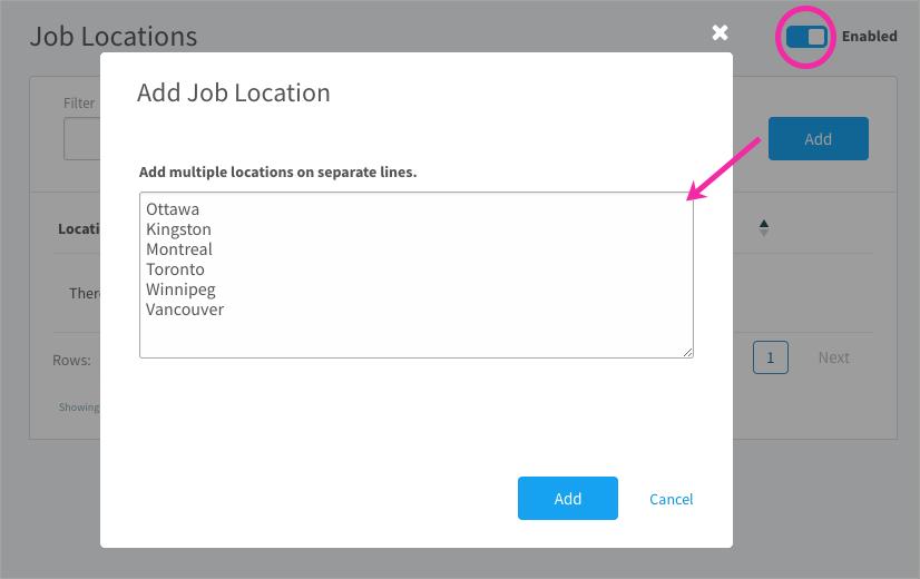Creating job locations