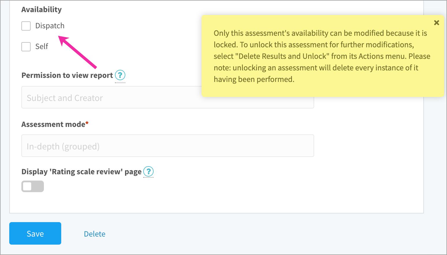Disabling an assessment