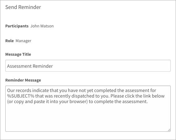 Sending an assessment reminder