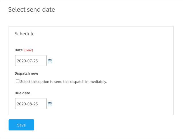 Scheduling a draft dispatch