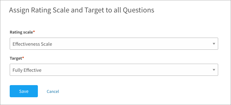 Assigning a scale and target to an in-depth assessment