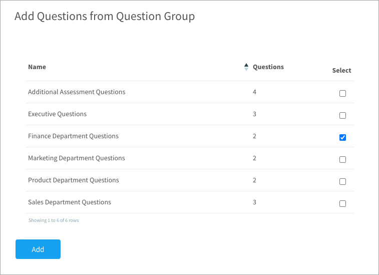 Adding questions from a question group