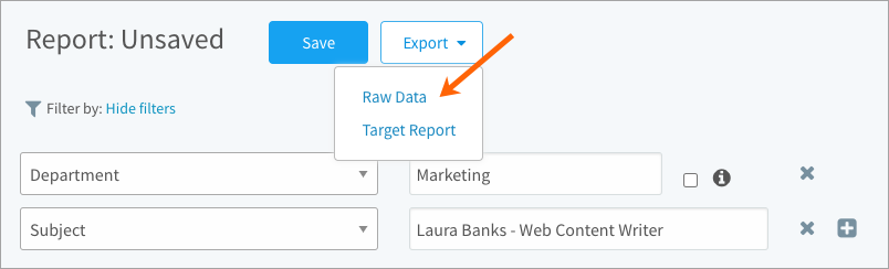 Exporting the raw data