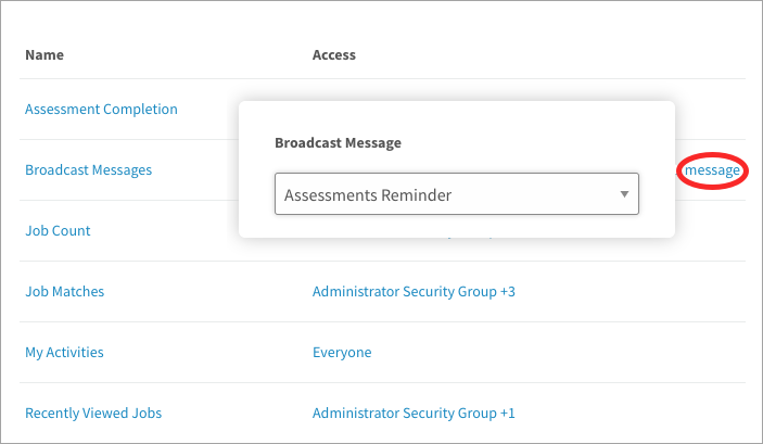 Selecting a broadcast message to add to the dashboard