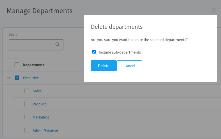 Deleting a department