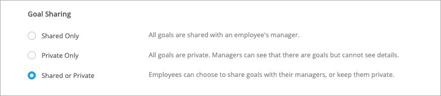 Share settings for goals