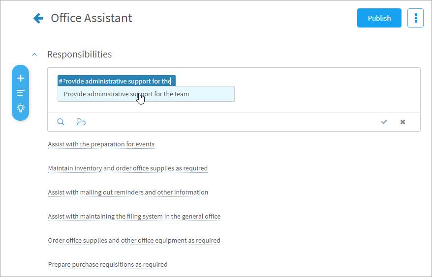 Adding responsibilities to a job