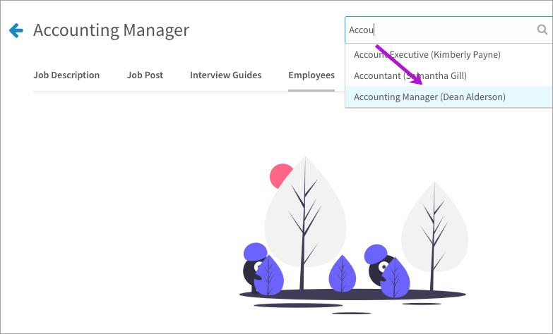 Associating a user's position to a job description