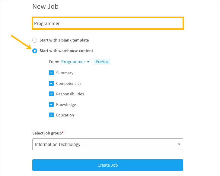 Creating a new job from a template