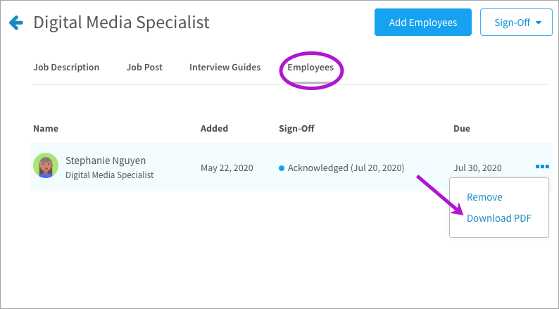 Exporting an acknowledged job description to PDF