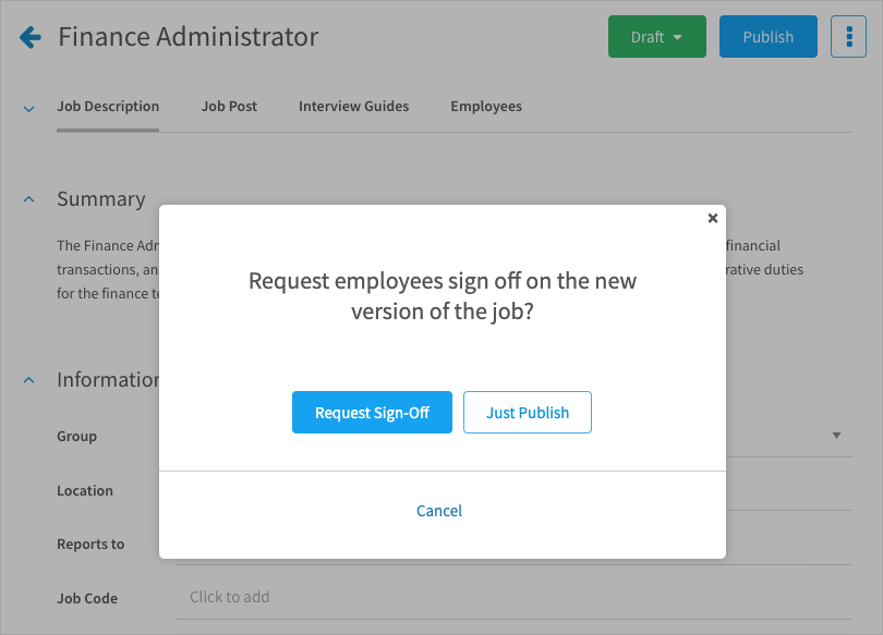 Request sign-off on a new version of a job description