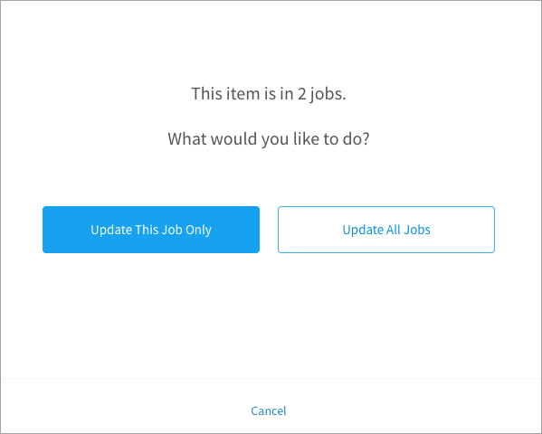 Choosing how to apply changes to library items on other jobs