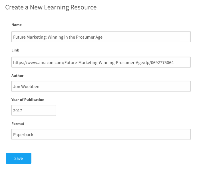 Creating a new learning resource