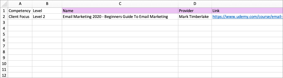 Adding headers to the Excel file