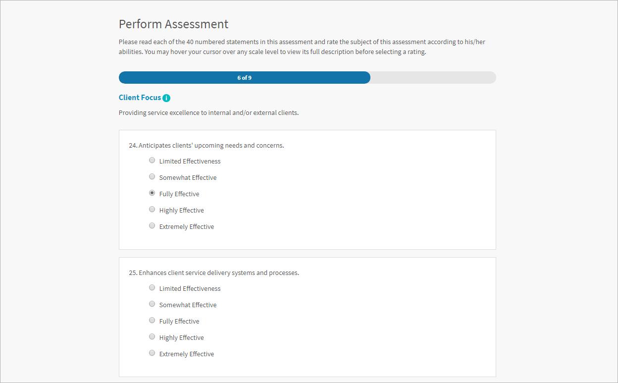 Screenshot of performing an in-depth assessment