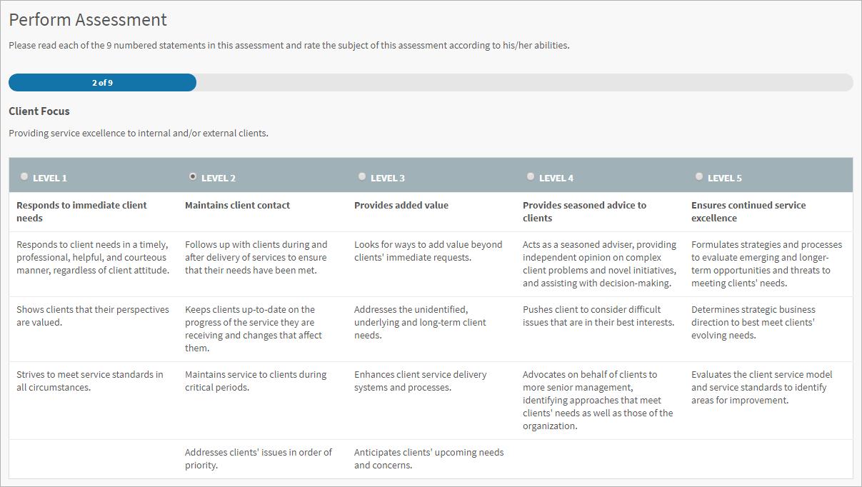 Screenshot of performing a snapshot assessment