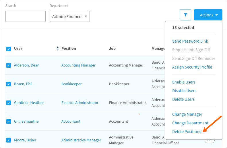 Deleting positions in bulk