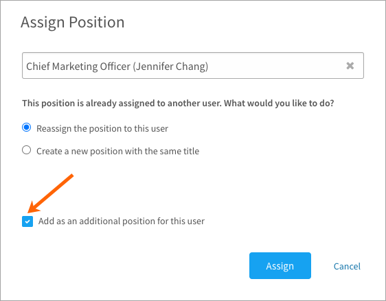 Reassigning a user's position