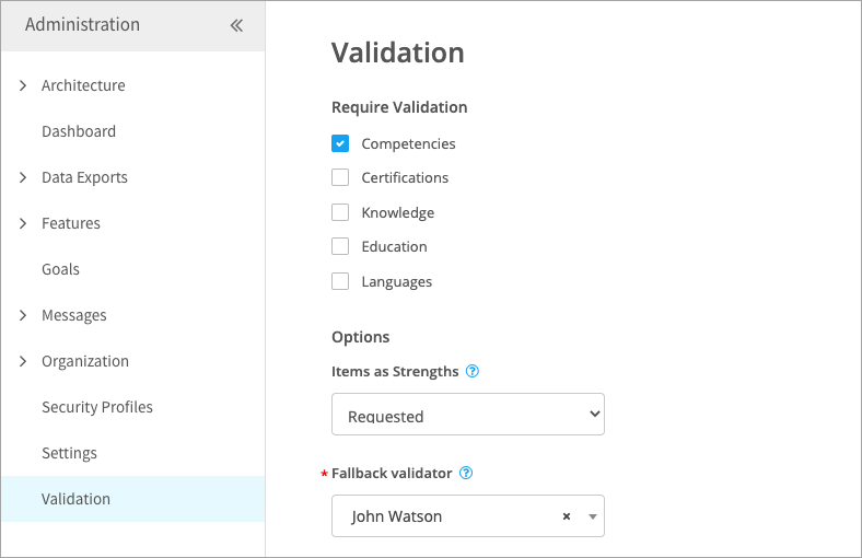 Turning on validation for a library type
