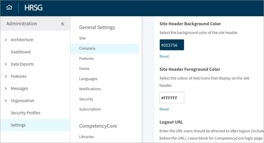 Accessing company settings
