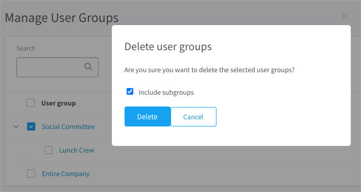 Deleting a user group