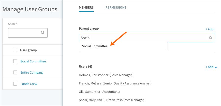 Associating a parent to a user group