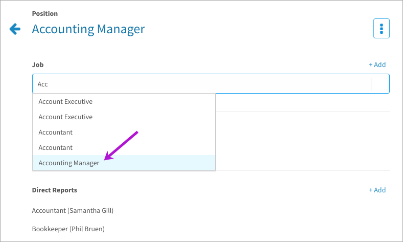 Associating a job description to a user's position